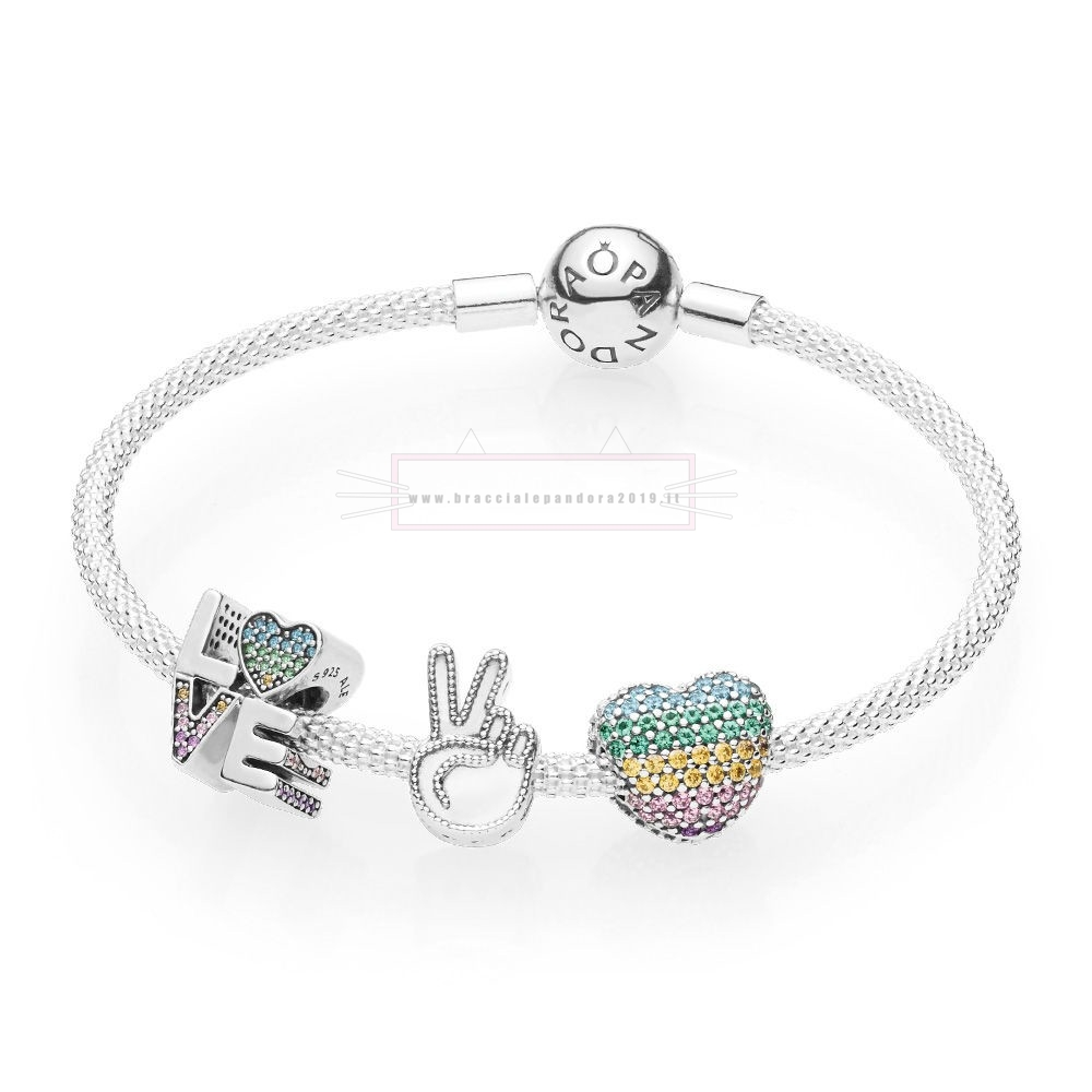 Ciondoli Pandora In Offerta Amore The Rainbow Bracciali Set