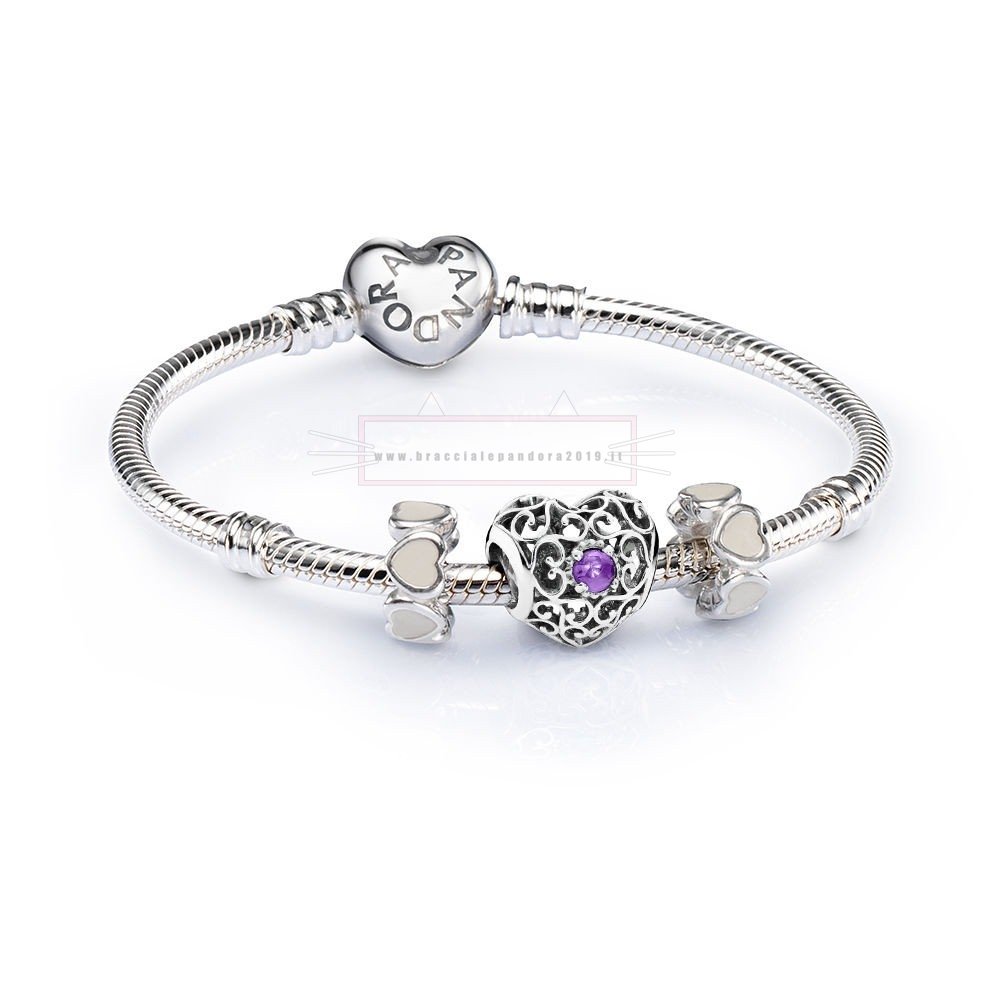 Ciondoli Pandora In Offerta Sale February Signature Heart Birthstone Charm Bracelet Set
