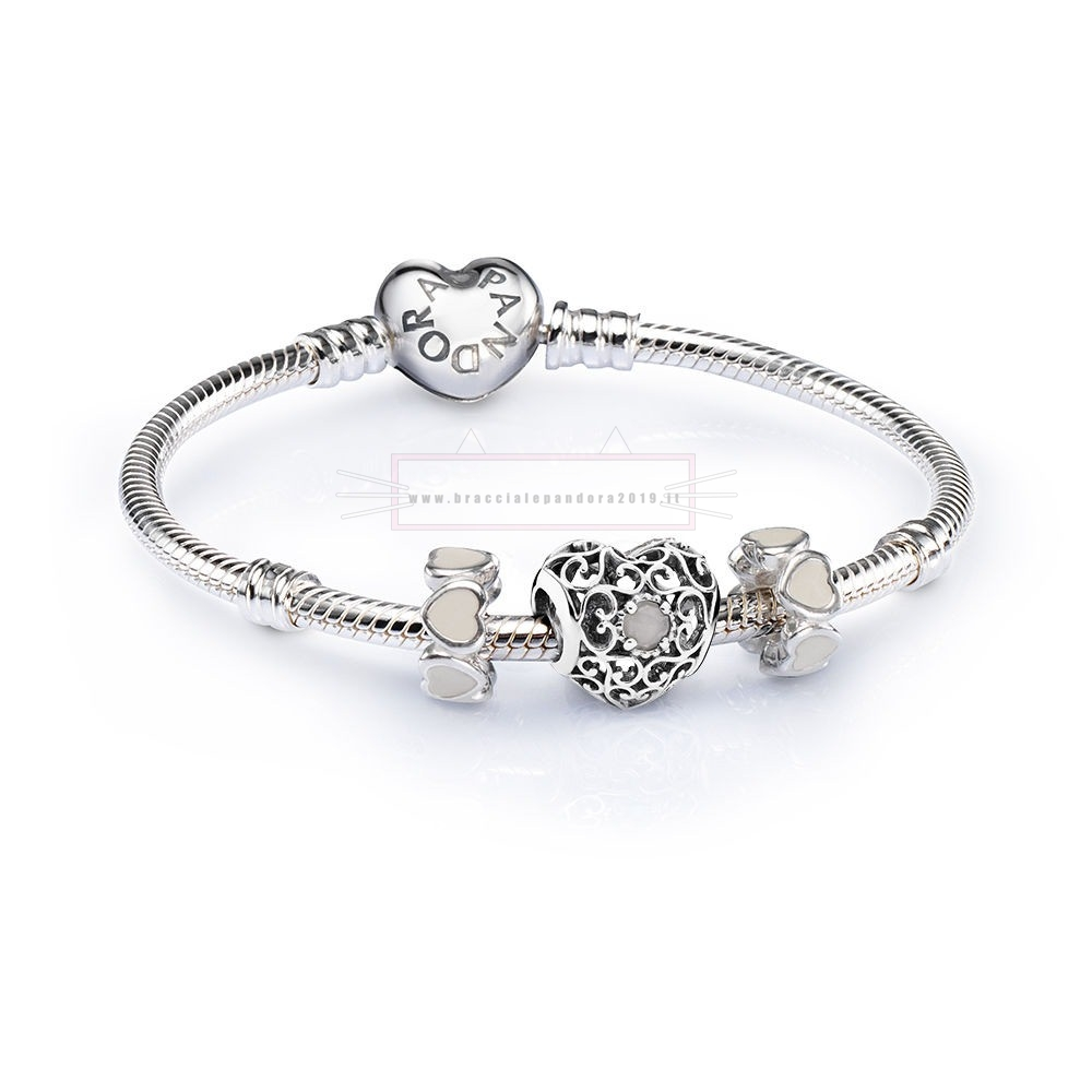 Ciondoli Pandora In Offerta Sale June Signature Heart Birthstone Charm Bracelet Set