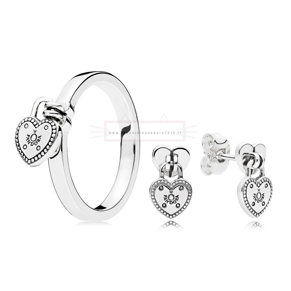 Ciondoli Pandora In Offerta Amore Lock Anelli And Earring Set